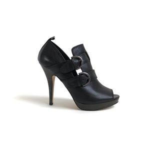 Coach Alexia Black Leather Peep Toe Booties